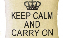 Sequoia Jacquard Kissen keep calm carry on white